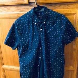 J crew Men's Large SS Dress shirt Blue EUC